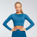 MP Women's Shape Seamless Long Sleeve Crop Top - Pilot Blue - XS