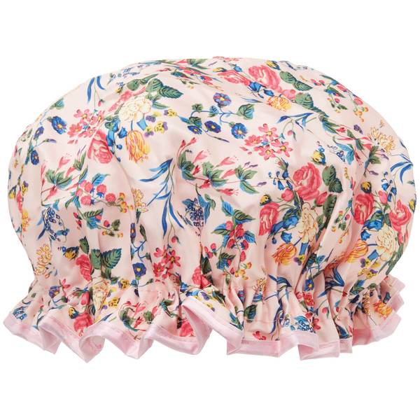 The Vintage Cosmetic Company 浴帽 - 粉色花朵缎面