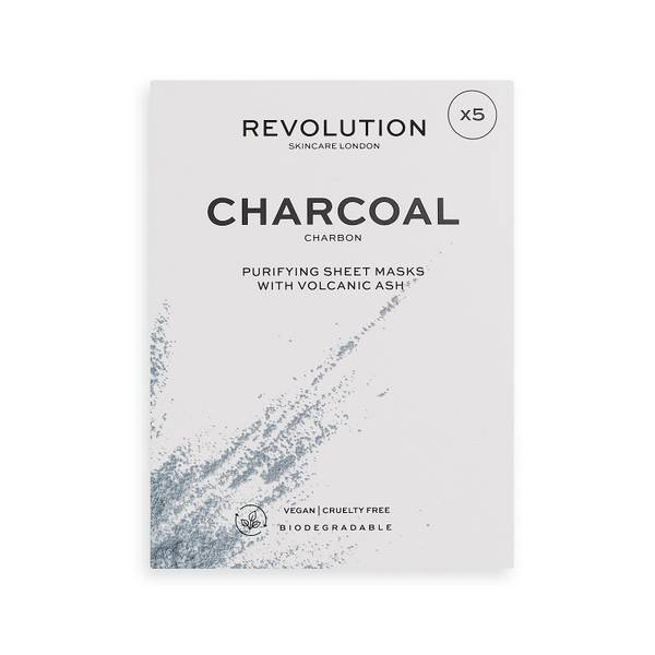 Revolution Skincare Biodegradable Purifying Charcoal Sheet Mask Set