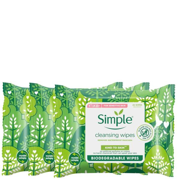 Simple Kind to Skin Biodegradable Cleansing Facial Wipes Bundle