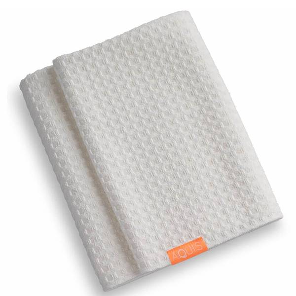 Aquis 华夫格奢华款干发毛巾 | 白色