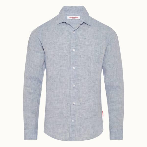 Giles Linen 系列定制款衬衫-海军蓝/白色