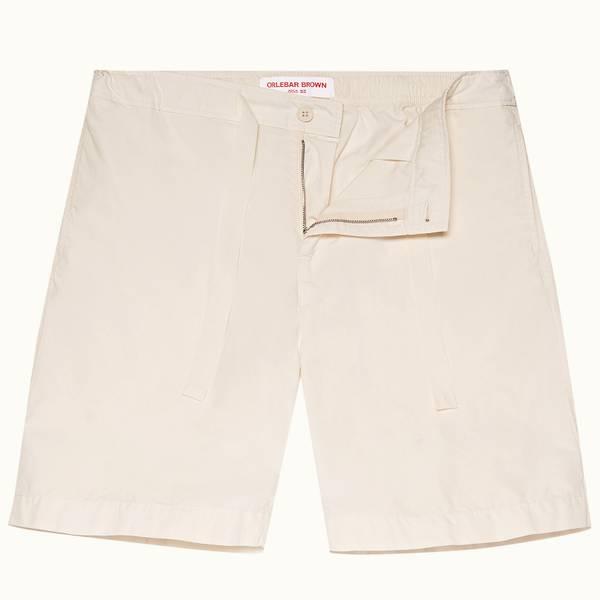 Borah 系列宽松帆布拉绳款短裤-杏白色