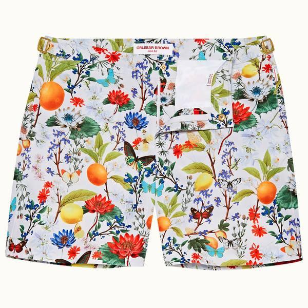 Bulldog 系列植卉中长款游泳短裤 - 杏白色