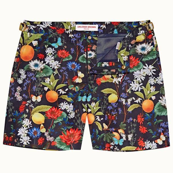 Bulldog 系列植卉中长款游泳短裤 - 海军蓝