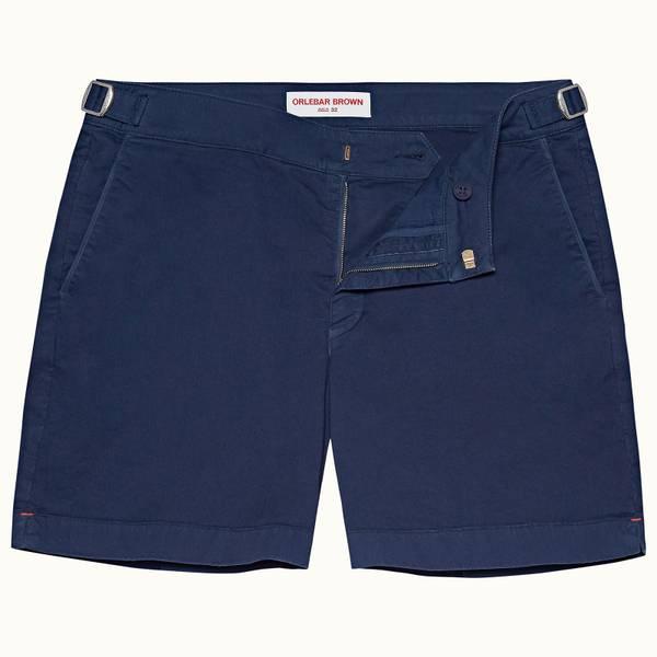 Bulldog Cotton Twill 系列斜纹布棉质中长款短裤 - 水洗蓝