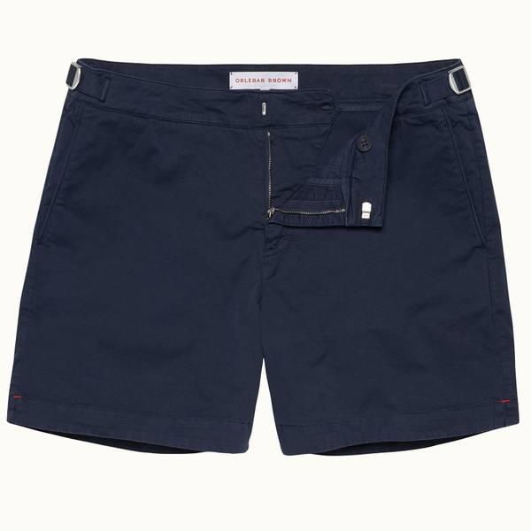 Bulldog Cotton Twill 系列斜纹布棉质中长款短裤-海军蓝