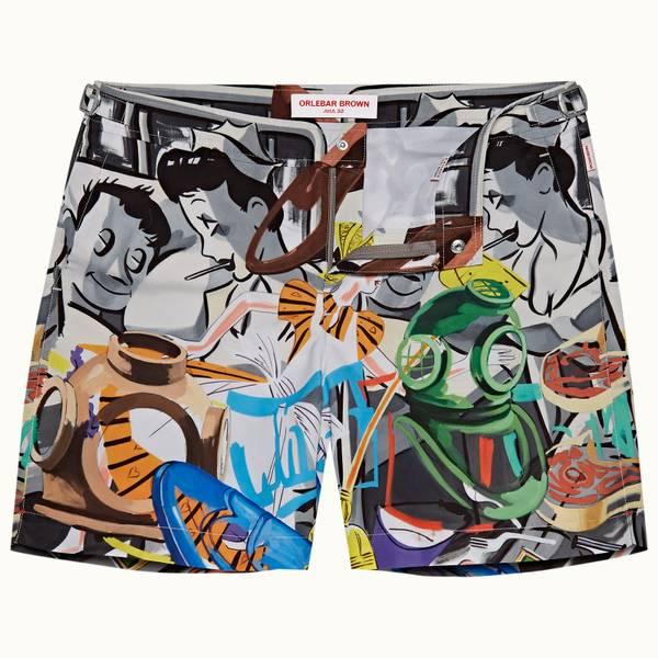Bulldog 系列中长款游泳短裤-潜水印花