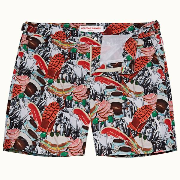 Bulldog系列中长款游泳短裤-红色拼接画