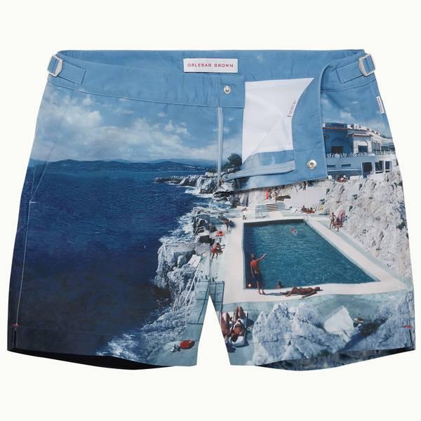 Bulldog 系列岩池印花中长款游泳短裤