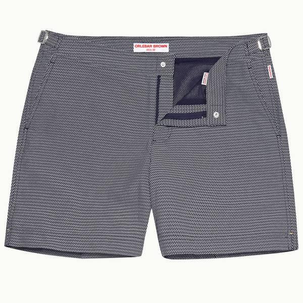 Bulldog 系列中长款游泳短裤-海军蓝/白色