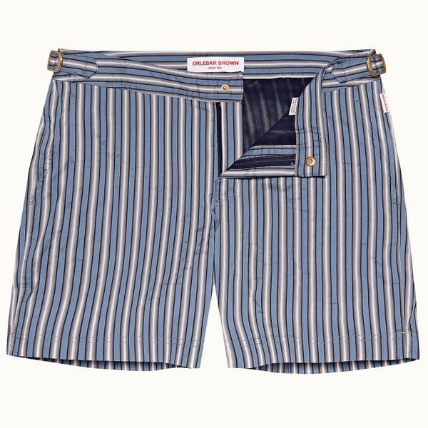 Bulldog 系列Rococo条纹中长款游泳短裤 - 卡普里蓝/海军蓝/灰色