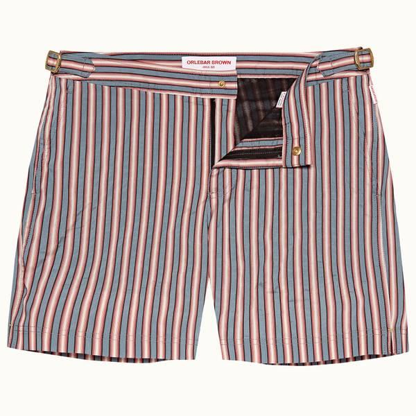 Bulldog 系列Rococo条纹中长款游泳短裤 - 灰绿色/黑色/玫瑰红