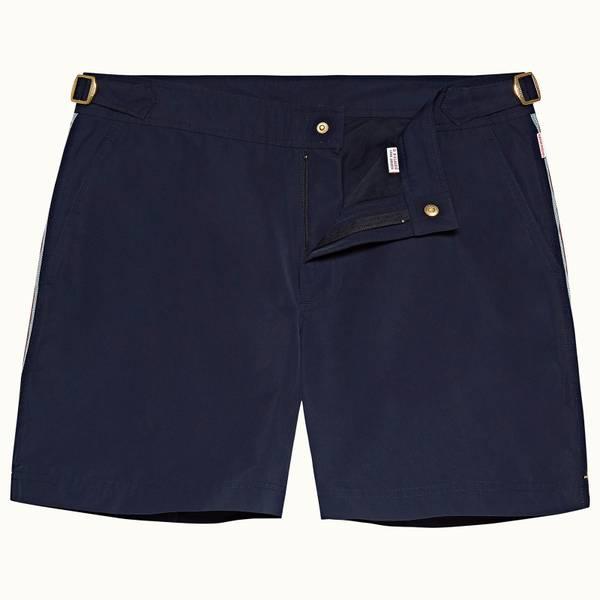 Bulldog 系列复古条纹中长款游泳短裤 - 海军蓝