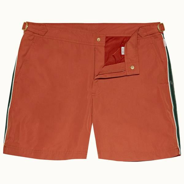 Bulldog 系列复古条纹中长款游泳短裤 - 复古玫瑰红