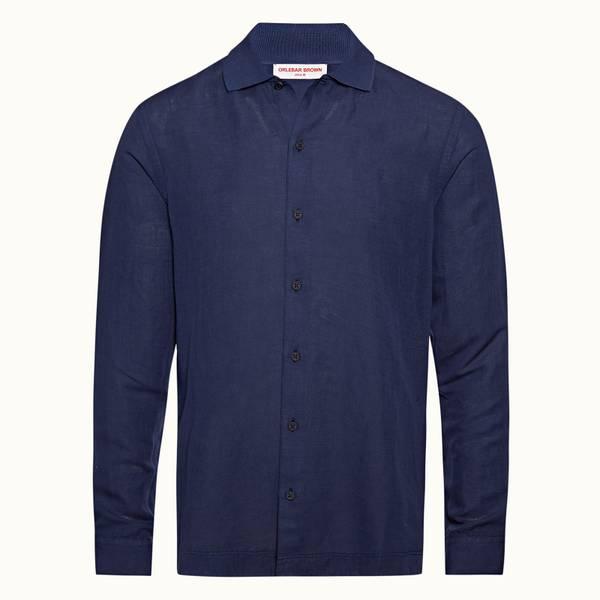 Canham 系列宽松螺纹领衬衫 - 海军蓝