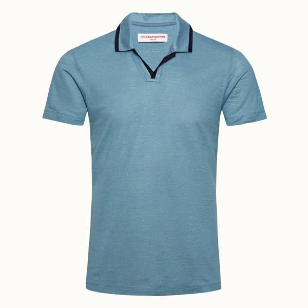 Felix Linen系列度假风亚麻布 Polo 衫 - 卡普里蓝