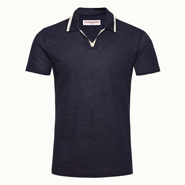 Felix Linen系列度假风亚麻布 Polo 衫 - 海军蓝