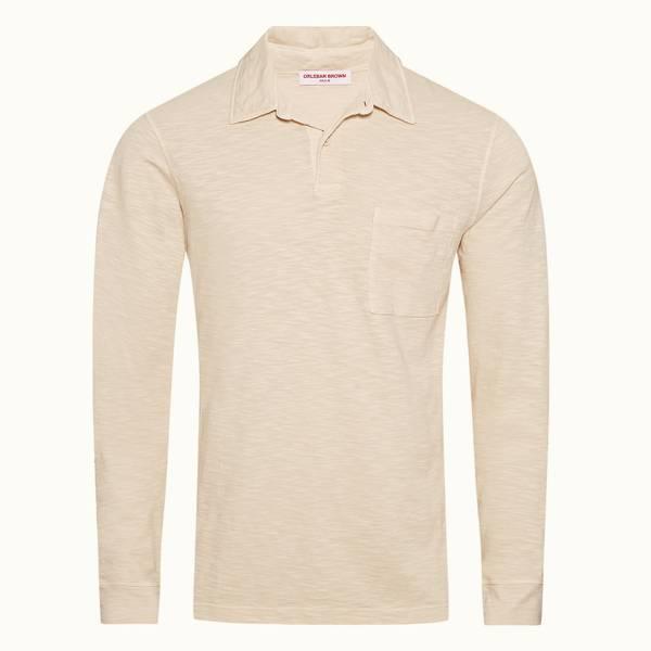 Fitzgerald 系列 经典长袖 Polo 衫 - 杏白色