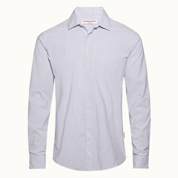 Giles 系列 经典款水洗领衬衫 - 纯白色/水洗蓝