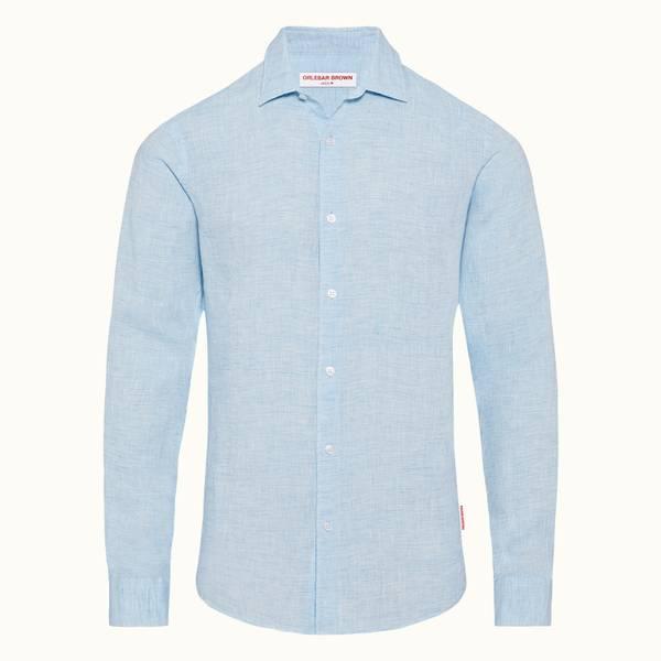 Giles Linen 系列经典领亚麻修身衬衫-浅蓝色/白色