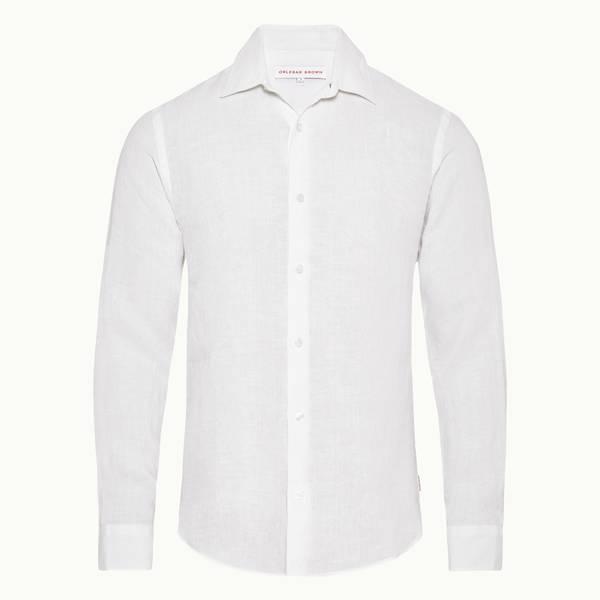 Giles Linen 系列定制款亚麻修身衬衫-白色