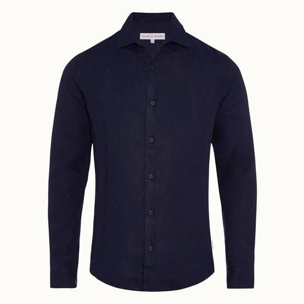 Giles Linen 系列翻领亚麻衬衫-海军蓝