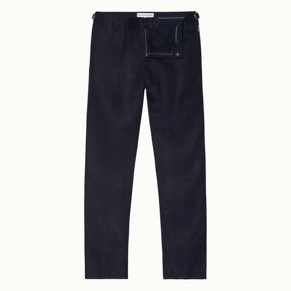 Griffon Linen 系列亚麻定制款长裤-海军蓝