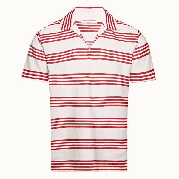Heterton 系列条纹套头衬衫 - 红色/纯白色