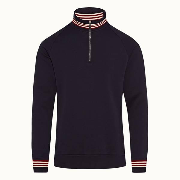 Isar 系列经典半拉链款罗纹条纹运动衫 - 海军蓝