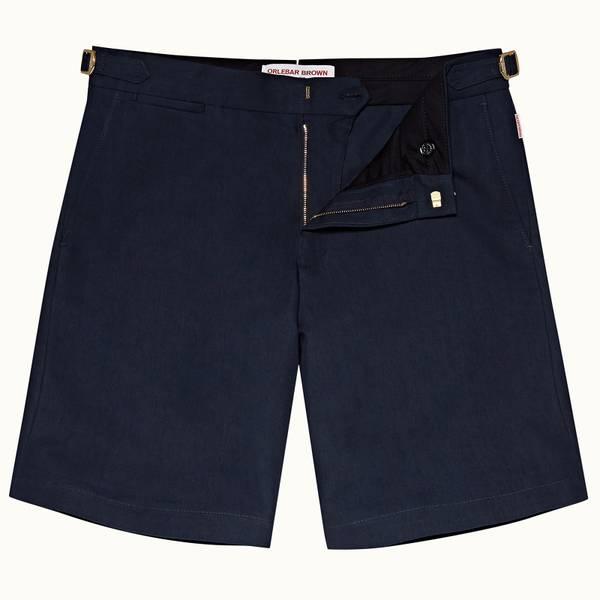 Norwich 系列定制款亚麻棉短裤 - 海军蓝