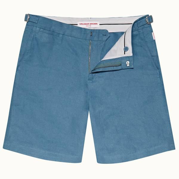 Norwich Linen 系列定制款亚麻棉短裤 - 卡普里蓝