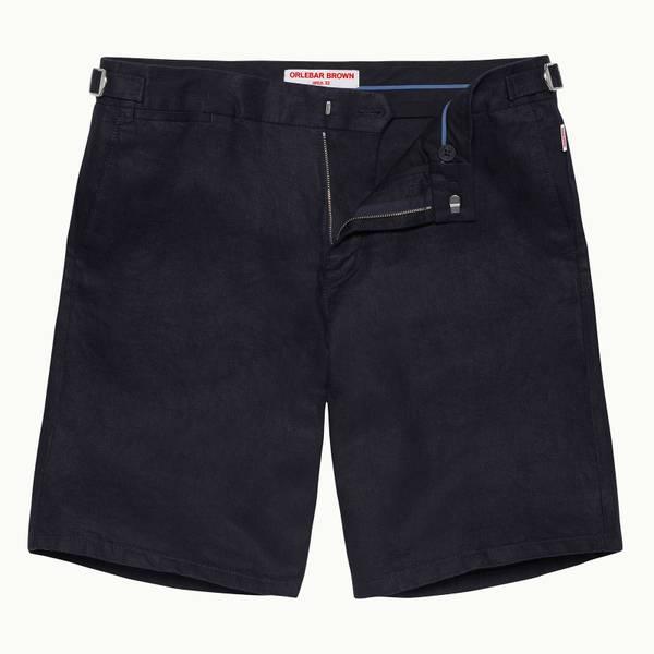 Norwich Linen 系列定制款亚麻棉短裤-海军蓝