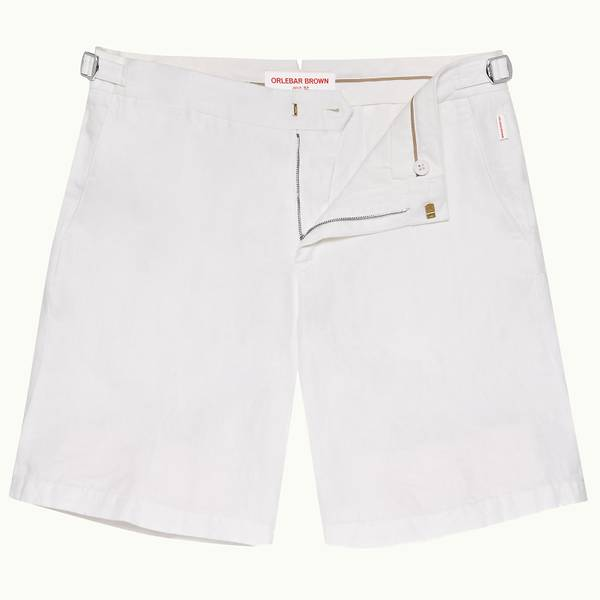 Norwich Linen 系列定制款亚麻棉短裤-白色