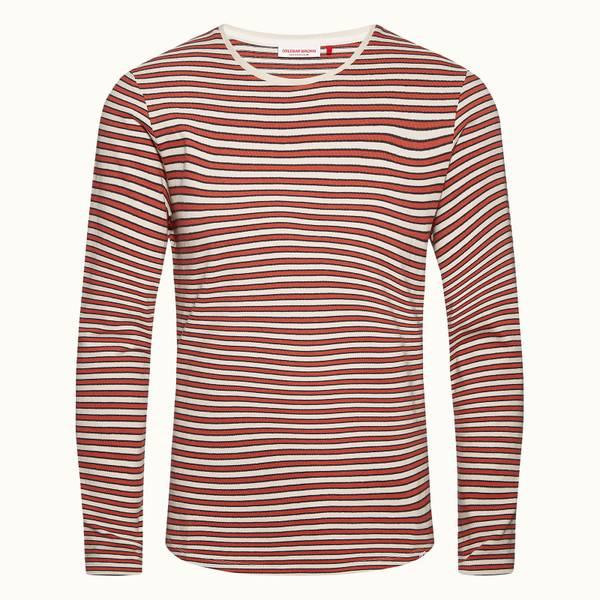 OB-T 系列 定制款条纹圆领 T 恤 - 复古玫瑰红/玫瑰红/杏白色