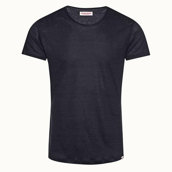 OB-T Linen 系列 定制款亚麻棉圆领 T 恤 - 水洗蓝