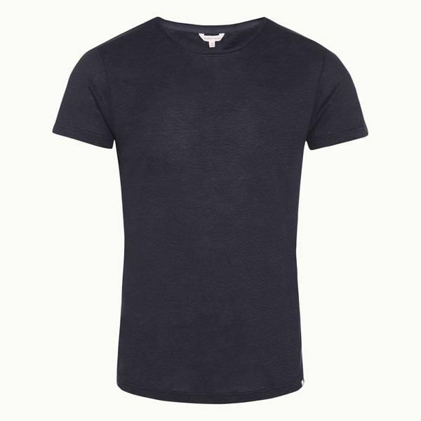 Ob-T Linen 系列海军蓝修身麻质圆领 T 恤