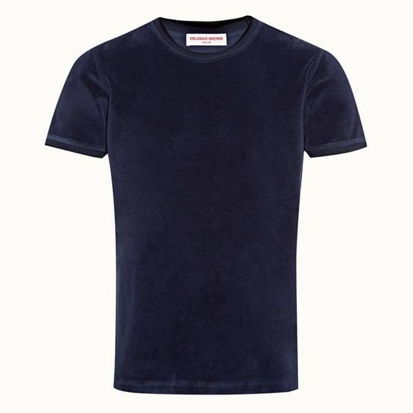 Sammy Towelling 系列毛巾质地镶边 经典款T 恤 - 海军蓝