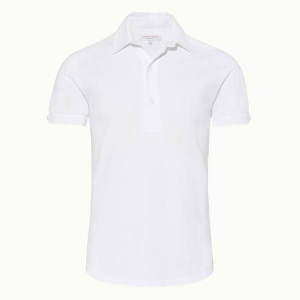 Sebastian 系列定制款珠地面料 Polo 衫 - 白色