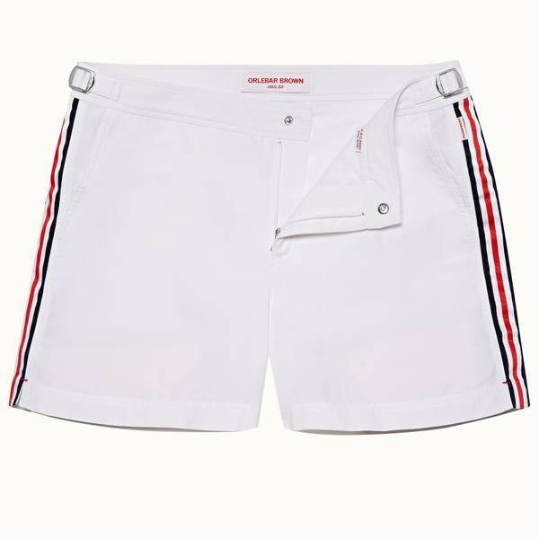 Setter 系列条纹款条纹游泳短裤 - 白色