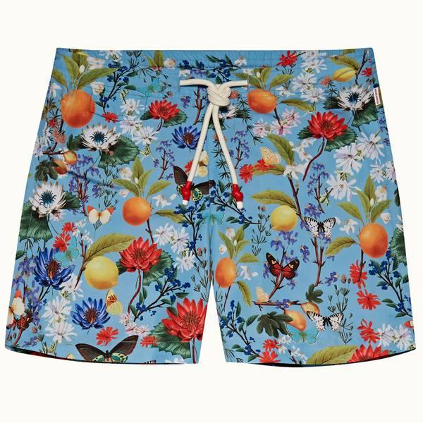 Standard 系列植卉中长款游泳短裤 - 卡普里蓝