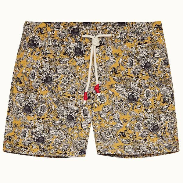 Standard 系列繁花中长款游泳短裤 - 亮金色