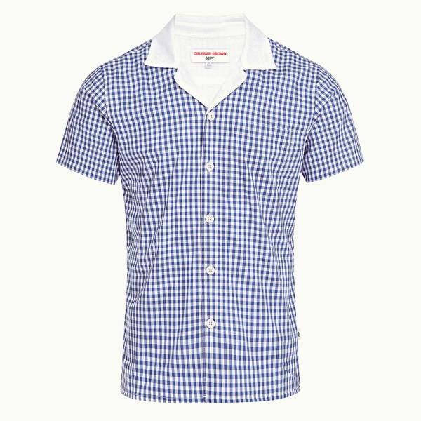 Thunderball Gingham Shirt 007 系列格纹卡普里开领衬衫 - 蓝白色
