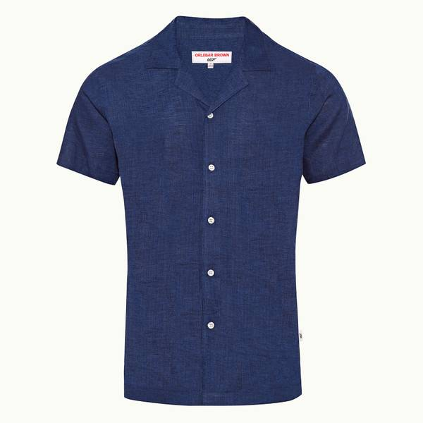 Thunderball Linen Shirt 007 系列印染卡普里开领衬衫 - 蓝色