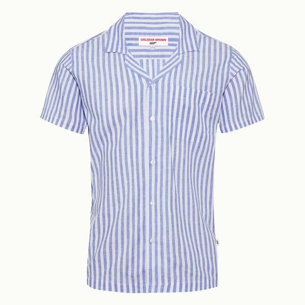 Thunderball Stripe Shirt 007 系列卡普里开领衬衫 - 海滨蓝/白色