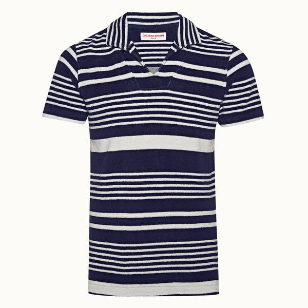 Trent Towelling 系列宽松款条纹 Polo 衫 - 海军蓝/杏白色