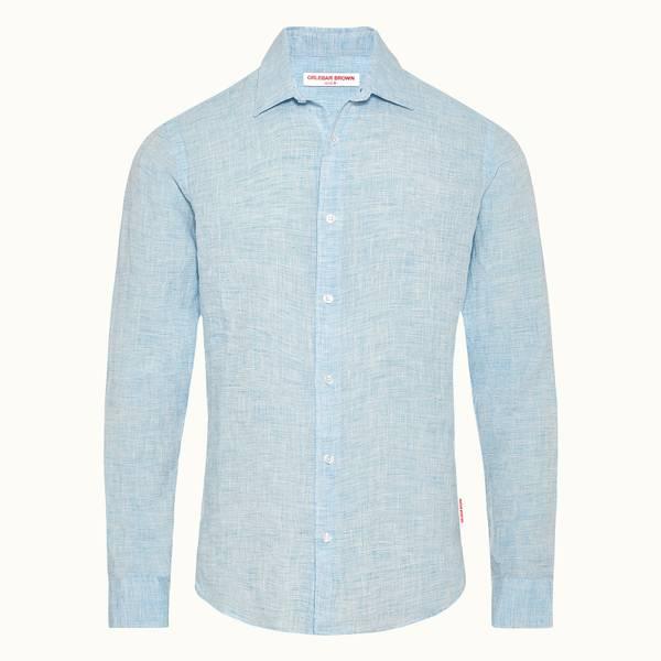 Giles Linen 定制款亚麻棉衬衫-海滨蓝色/白色