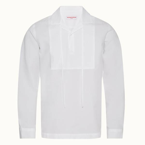 Uriel 系列宽松款围兜式套头衬衫 - 纯白色