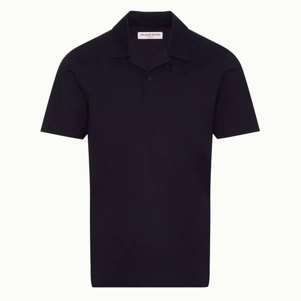 Strathmere Binding 系列宽松款丝光棉 Polo 衫 - 午夜鸢尾黑色
