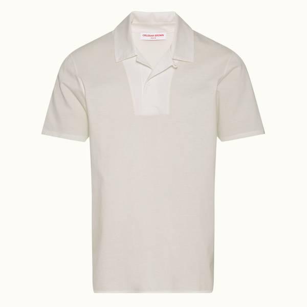 Strathmere Binding 系列宽松款丝光棉 Polo 衫 - 纯白色